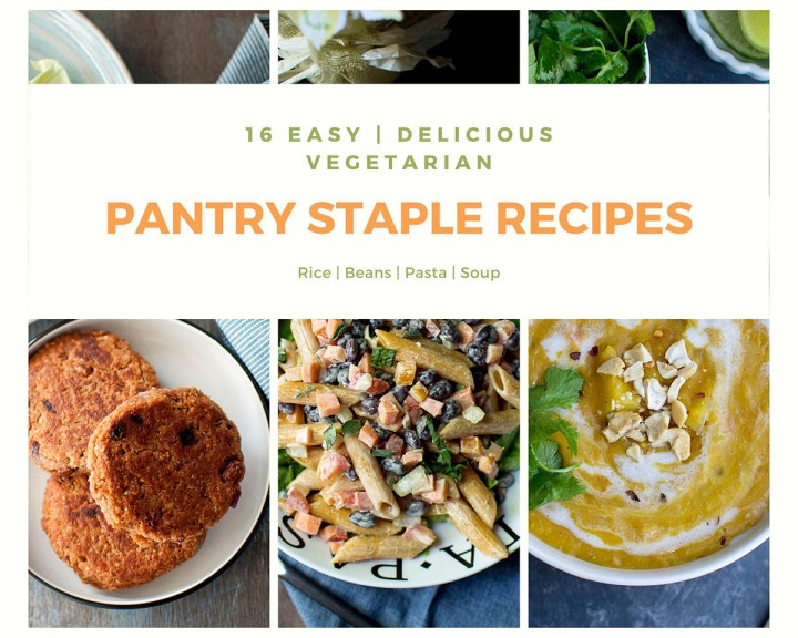 Collage of Vegetarian Pantry Staple Recipes