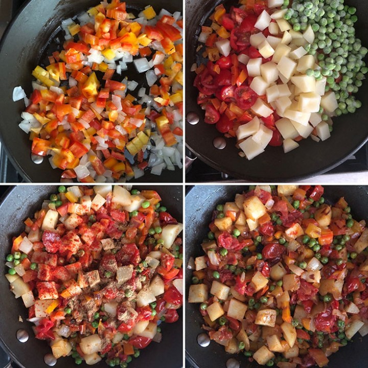 Step by step photos showing the cooking of onions, bell peppers, tomatoes, potatoes, peas and spices