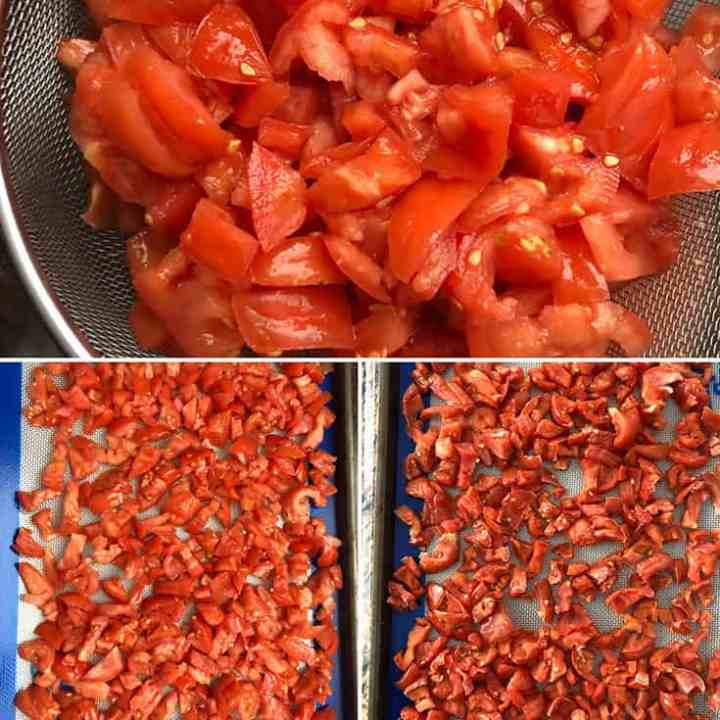 Salted tomatoes being drained, then baked until slightly dry