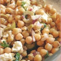 Chickpea salad with basil, olives, red onion & feta