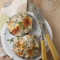 Crab-stuffed portobello mushrooms