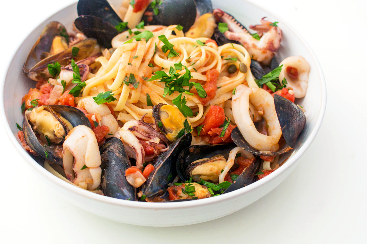 Italian Seafood Pasta With Mussels And Calamari Recipe