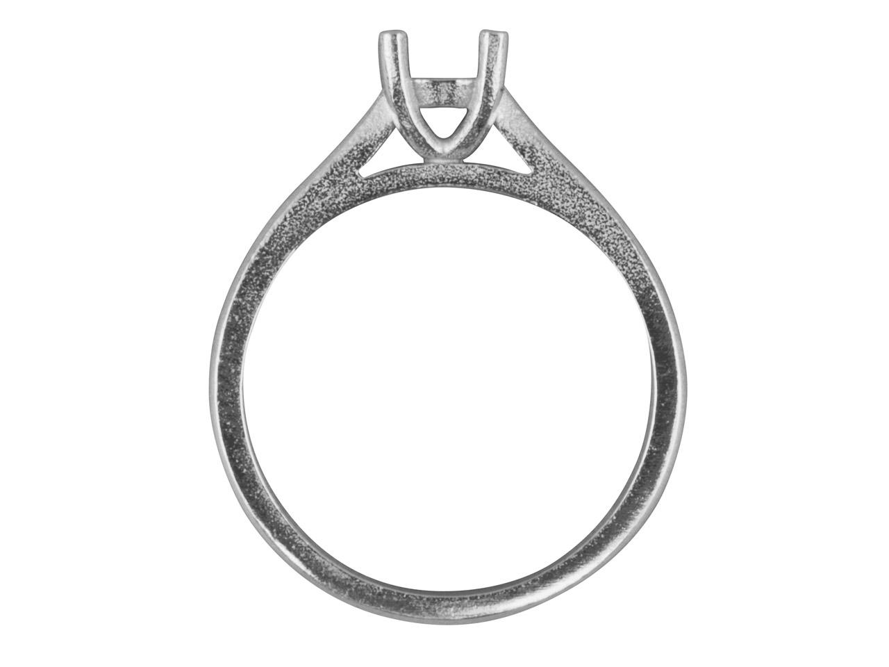 9ct White Round 4 Claw Double Bezel Ring Mount 4 0mm Hallmarked 25pt Size M