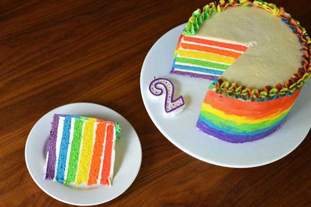 Queer Romance Month Rainbow Cake