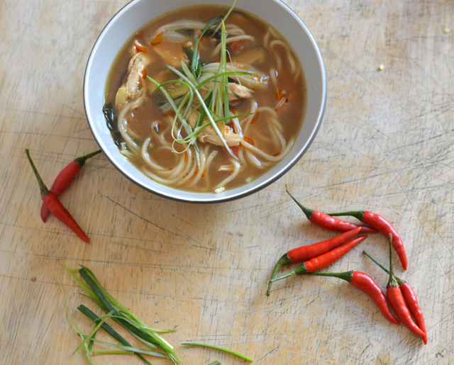 Bowl of spicy chicken soup with sliced green onions and small red peppers.