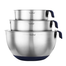 VonShef 3 Piece Stainless Steel Mixing Bowl Set