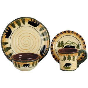 HiEnd Accents Bear Lodge 16-Piece Dinnerware Set