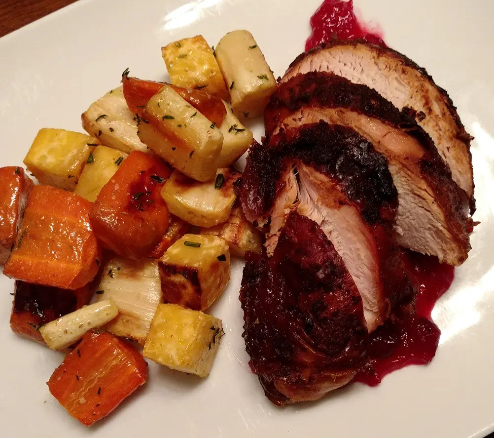 Roasted Root Vegetables and Turkey Dinner