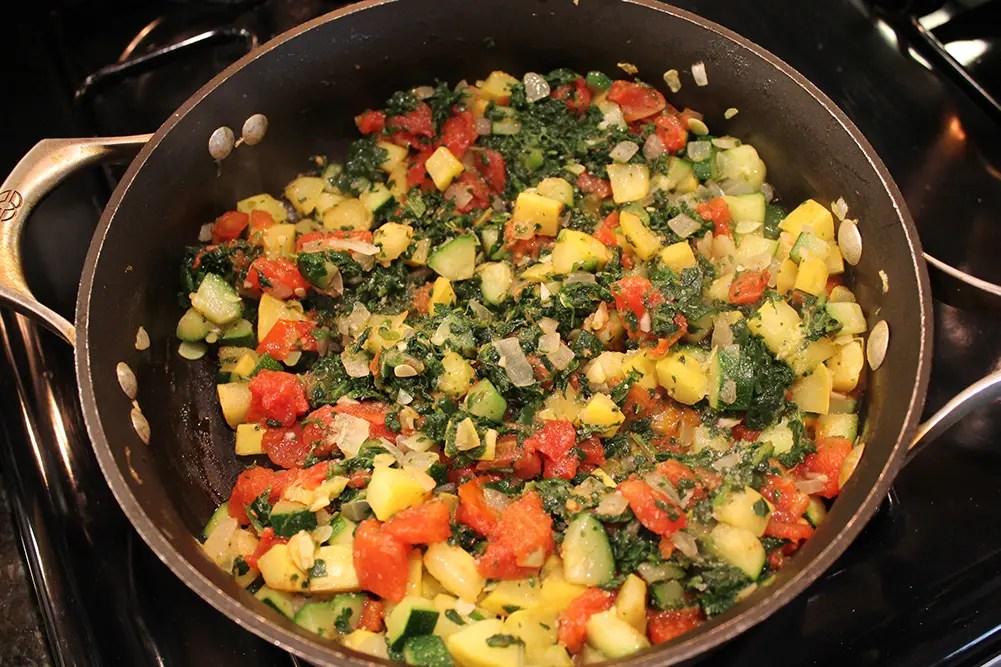 Vegetables Sauteeing for White Baked Ziti