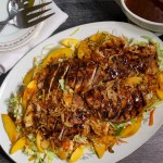 BBQ Chicken & Peach Salad | Crunchy, Sweet, & Tangy