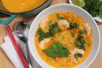 Red Curry Kabocha Squash Soup with Shrimp & Noodles | Souper Slurpable