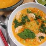 Red Curry Kabocha Squash Soup with Shrimp & Noodles | Souper Slurpable