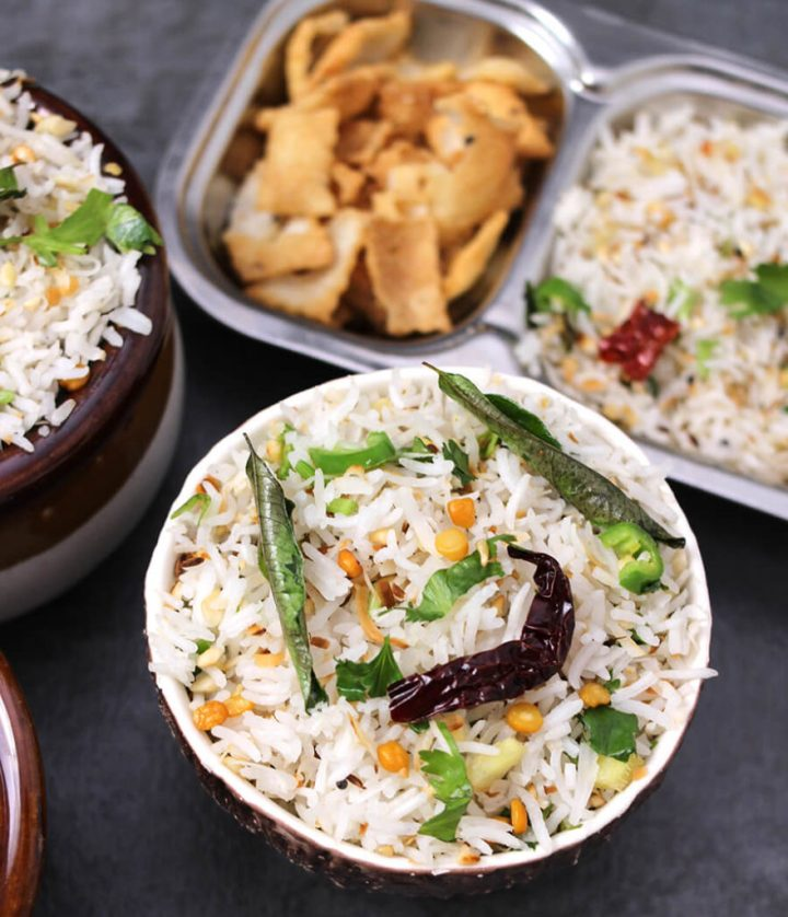 Coconut Rice / Thai coconut Rice / Thengai Sadam / White rice recipe / vegan rice recipe / Best rice recipe / healthy rice recipe / gluten free recipe / easy dinner recipe / easy rice recip / indian rice recipe / south indian recipe / dinner recipe / spicy rice recipe / basmati rice recipe / Navratri recipe / Prasadam recipe / Coconut Rice Instant Pot / Breakfast rice / vrat recipe / upvas recipe / fasting recipe / Indian coconut rice / Jamaican Coconut Rice  / Basmati Coconut Rice