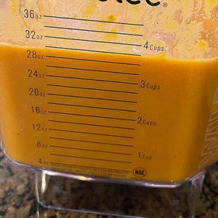 blended tomato soup in a blender