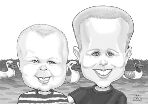 Children's Black White Head to Shoulders Digital Caricatures
