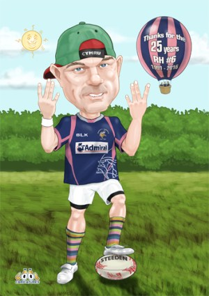 Rugby full body digital caricatures