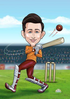 Orange and maroon batsman