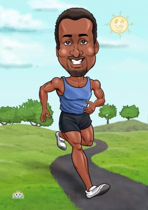 caricature funny gifts for runners