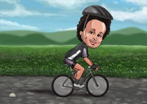 cycling gifts for him cartoon portrait