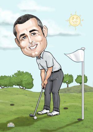 Golf caricature birthday gift