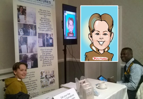 iPad Caricature artist for trade stands uk