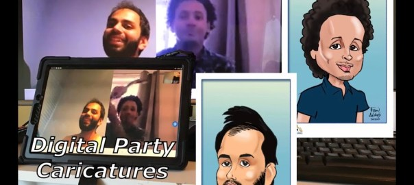 Zoom Skype and Remo virtual-party-caricaturist