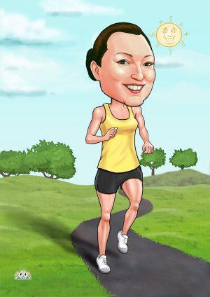 female marathon runner caricature poster gift