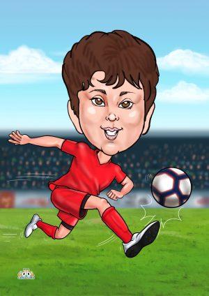 Boys personalised football caricature