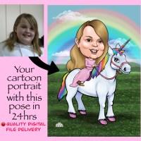 Riding a Unicorn caricature