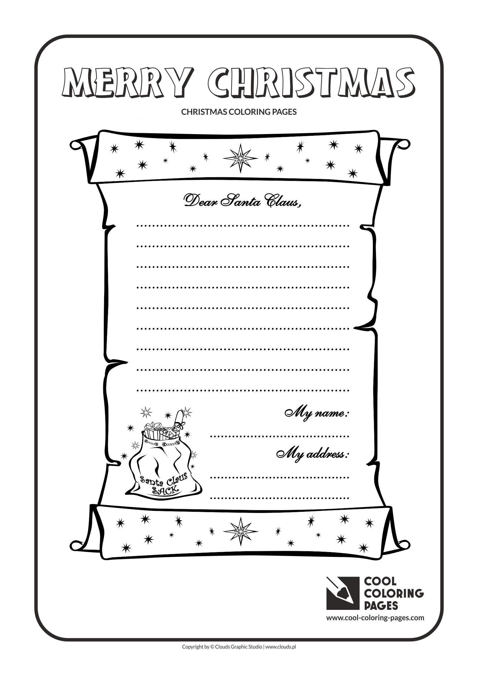 Cool Coloring Pages Letter To Santa Claus No 1 Coloring Page