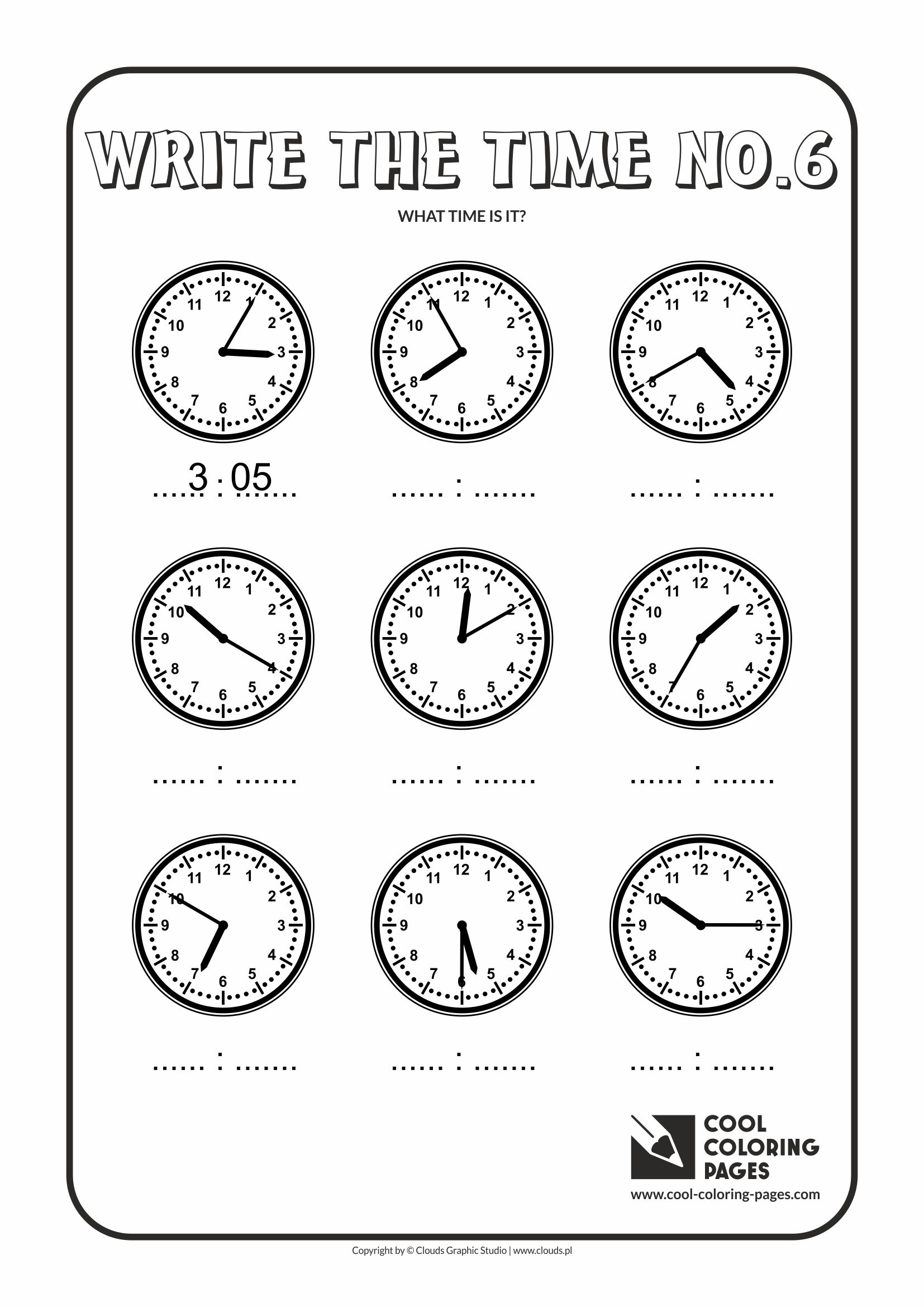 Cool Coloring Pages Write The Time No 6