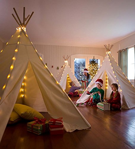 Best Gift Idea for Kids and teen girls: Children's Cotton Canvas Teepee with Lights