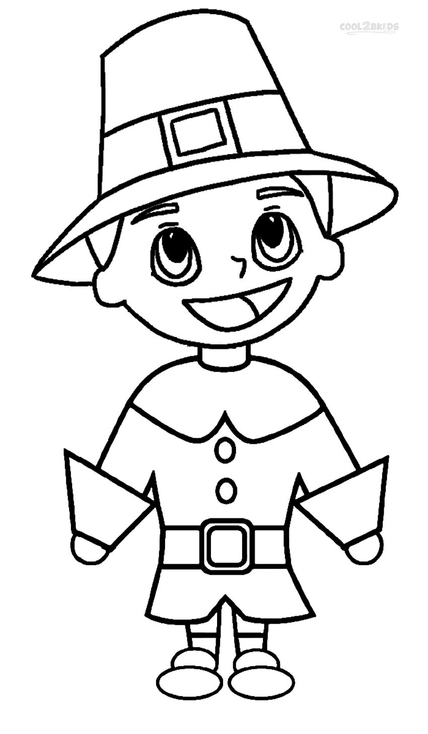 Coloring Pilgrim Pages Indian And