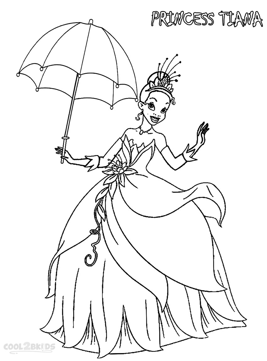 Printable Princess Tiana Coloring Pages For Kids | Cool2bKids | colouring pages for disney princesses