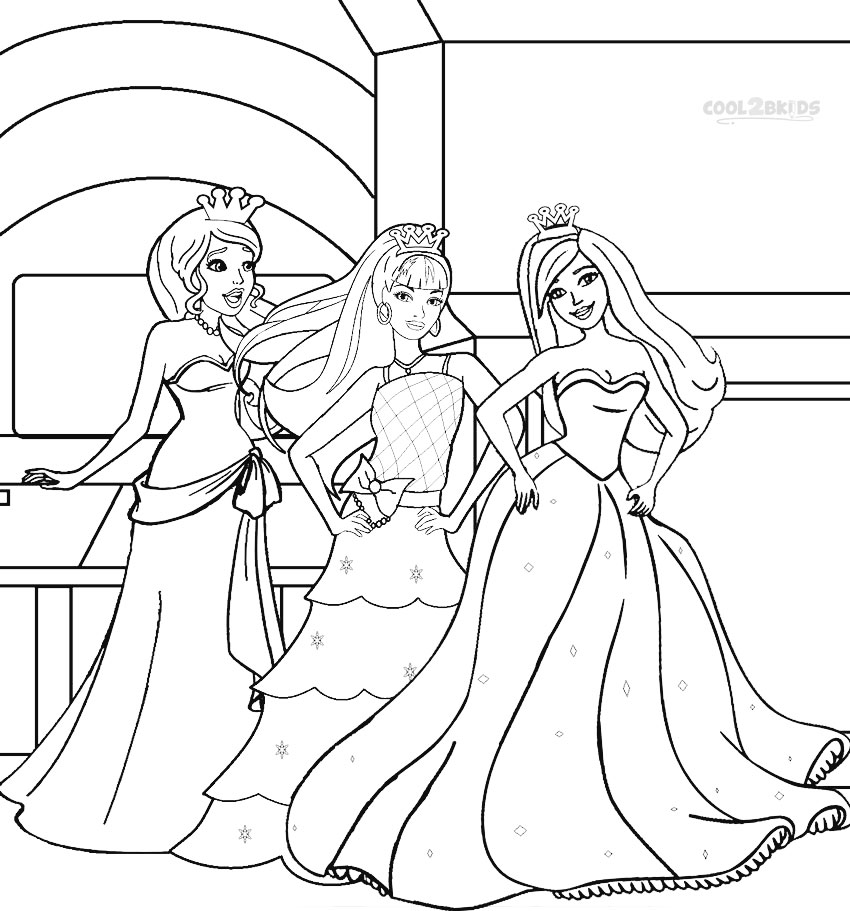 Barbie Princess Coloring Pages Cool2bkids