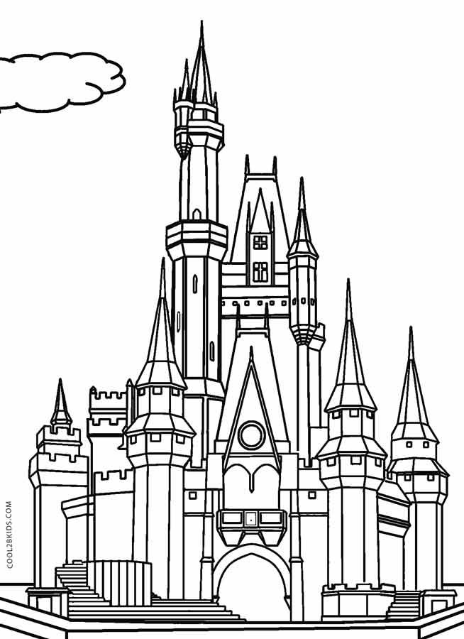 Disney frozen castle coloring pages coloring page for Cinderella castle coloring pages print
