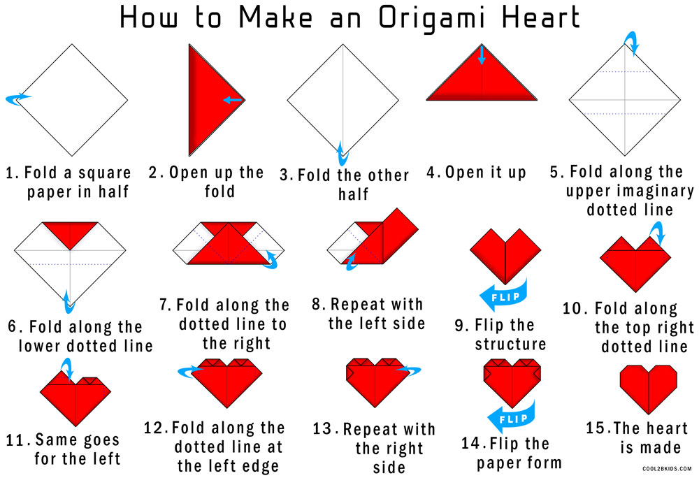 Easy Instructions To Fold An Origami Red Paper Heart