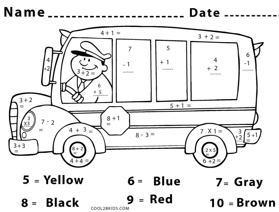 High School Math Color By Number Sketch Coloring Page