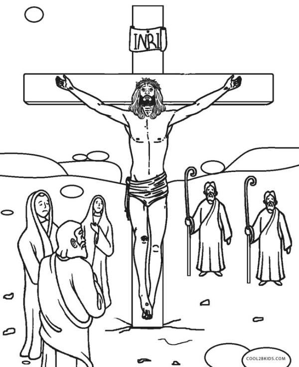 jesus on the cross coloring page # 10
