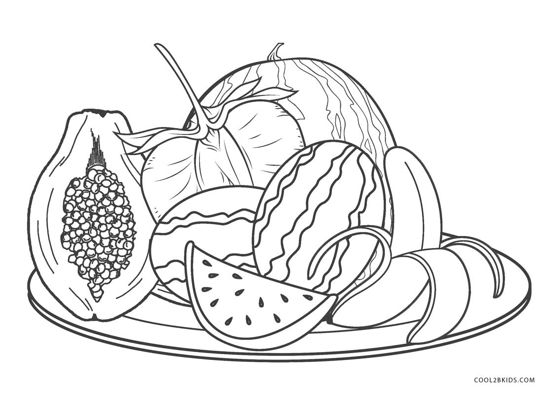 Free Printable Fruit Coloring Pages for Kids | Cool2bKids | fruits coloring pages for kindergarten