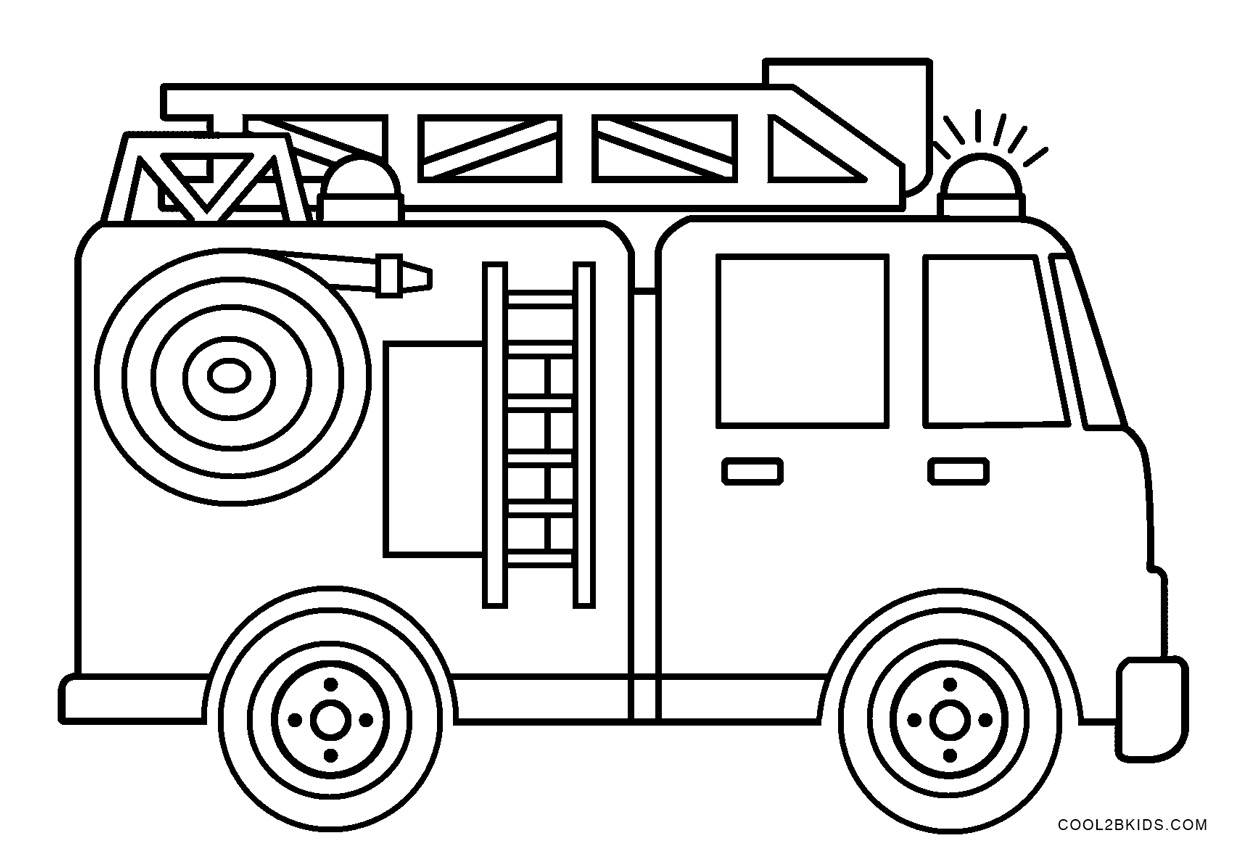Fire Engine Coloring Pages To Print Free Download