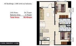 SMDC Shore Residences Unit Layout 2 Bedroom with Balcony