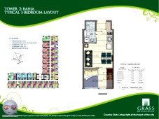 Grass Residences Floor Tower 2 Unit Layout 1 Bedroom