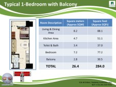Grass Residences Floor Tower 4 Unit Layout 1 Bedroom with Balcony