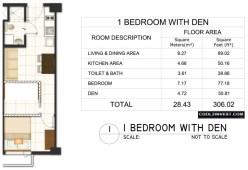 Trees Residences Unit Layout 1 Bedroom with Den