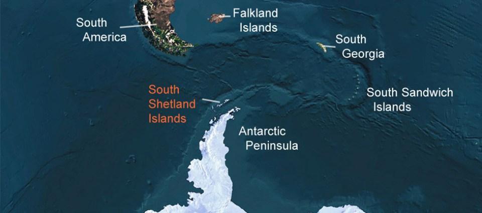 Mappa delle isole Shetland meridionali, Antartide