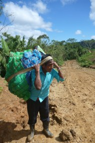 Florencio Canti carries costumes across the border from Guatemala