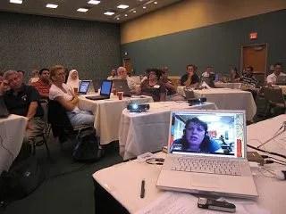 Vicki Davis Skyping into a Conference