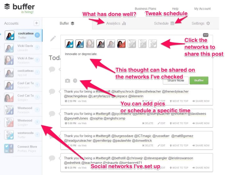 """Figure xx: Buffer App lets you schedule posts so you don't """"overtweet"""" and you can share at various times during the day."""