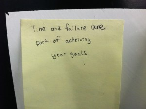 Time and failure are PART of achieving your goals. So few see this - we must get up when we fall down or we will never walk. We must continue on when we fail so we can fulfill our dreams and purpose for living.